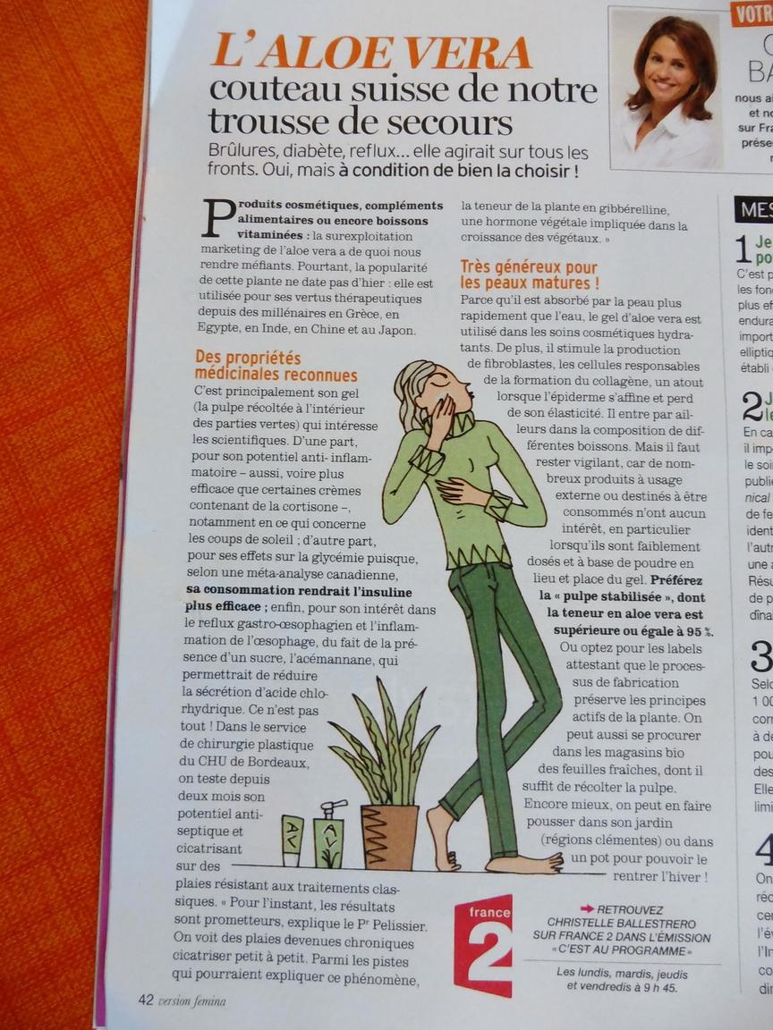 Article sur Aloe vera